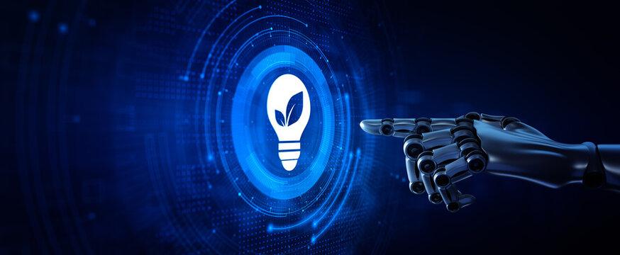 Green energy renewable zero waste. Robotic hands pressing button 3d render
