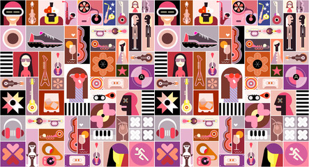 Pop Art Mix. Pop art graphic collage of  people avatars, different objects and abstract shapes.