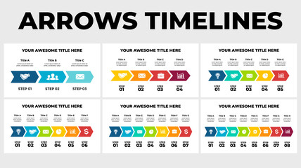 Arrows Timelines Vector Infographic. Presentation slide template. Chart diagram. Info graphic visualization data.
