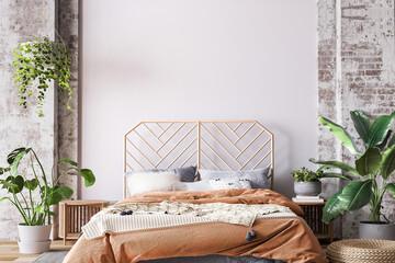 Fototapeta Wooden bed in loft apartment design, interior of bedroom with empty wall mockup, 3d render obraz