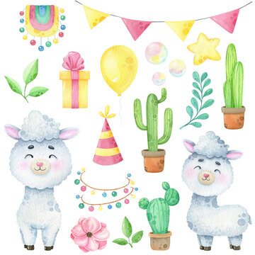 Watercolor happy llama clip art isolated on white