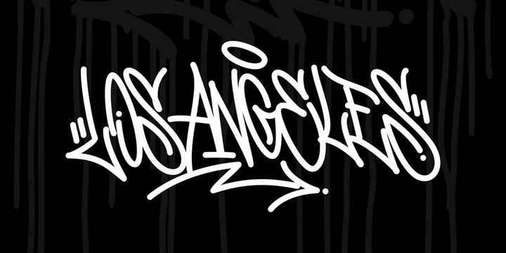 Simple Los Angeles Abstract Hip Hop Urban Hand Written Graffiti Style Vector Illustration Art