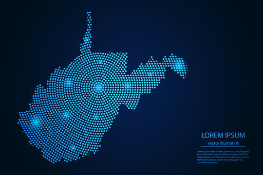 Abstract image West Virginia map from point blue and glowing stars on a dark background. vector illustration.