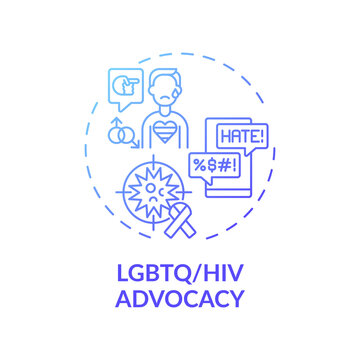 LGBTQ and HIV advocacy concept icon. Legal services types. Legal representation to people living with health issues idea thin line illustration. Vector isolated outline RGB color drawing