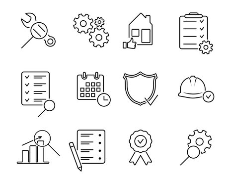Inspection line icon set. Thin line icons for quality control, check, verify, testing, examination, inspect. Vector