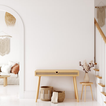 Boho interior style. Wall mockup. Wall art. 3d rendering, 3d illustration