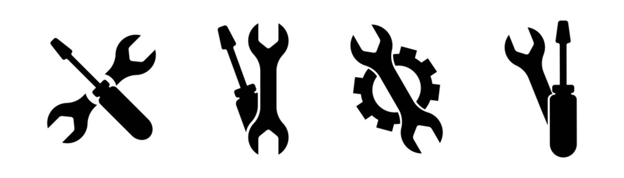 Wrench screwdriver gear icon set. Vector service tools symbol collection.