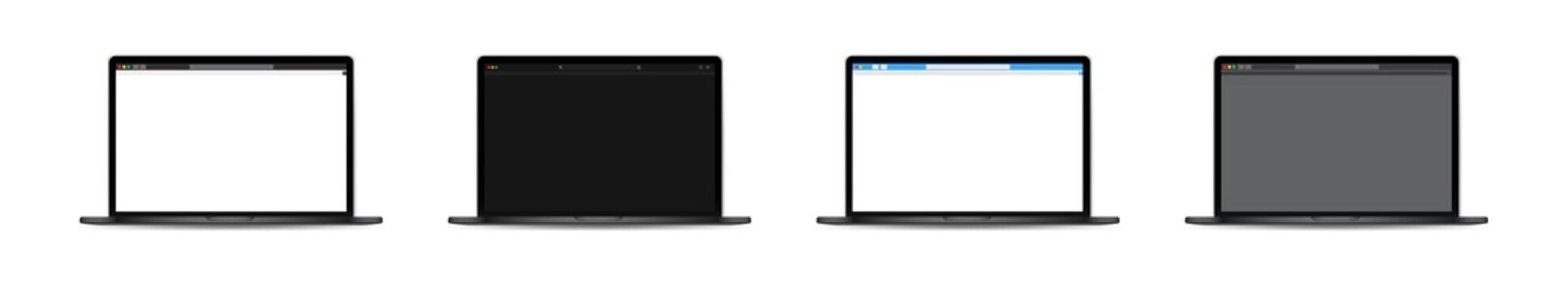 Laptop browser window. Vector illustration. Webpage template on laptop. Social network.