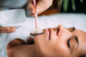 Fototapeta Chemical Peel Face Treatment with Retinol Serum. obraz