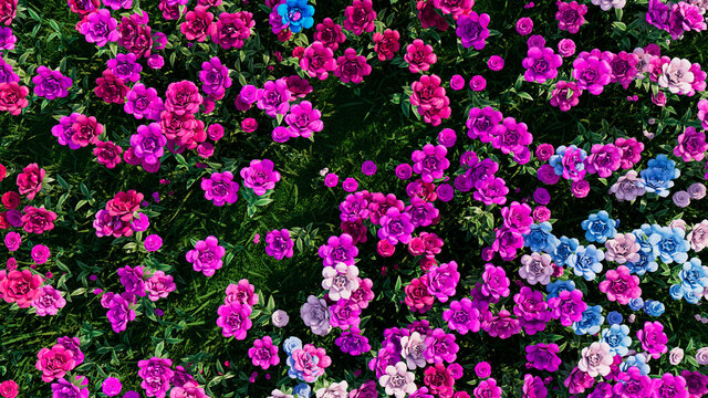 Multicolored Flower Background. Floral Wallpaper with Pink, Lilac and Blue Roses. 3D Render