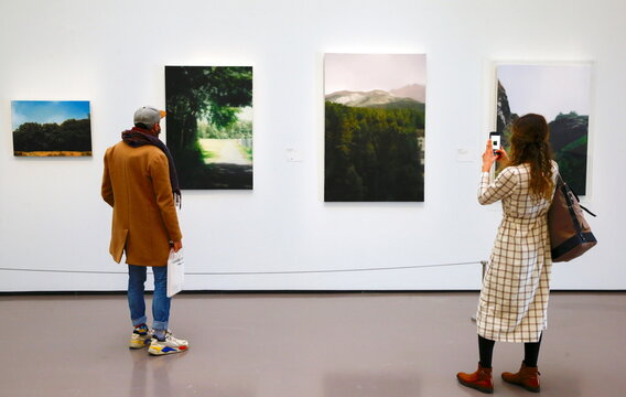 """A woman takes a picture of the painting """"Waldhaus"""" by German painter Gerhard Richter at the Kunsthaus Zurich art museum in Zurich"""