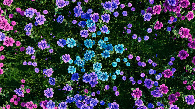 Multicolored Flower Background. Floral Wallpaper with Aqua, Purple and Pink Roses. 3D Render
