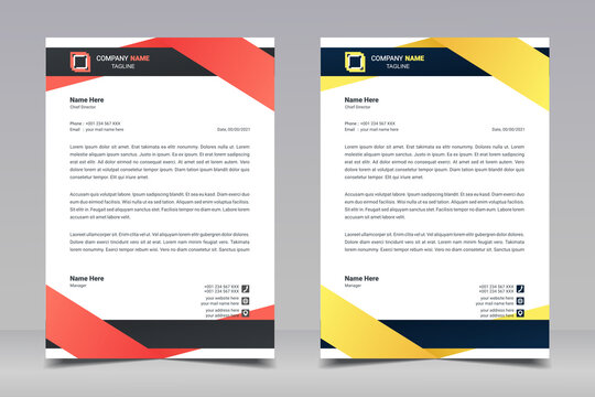 Letterhead design template. Creative, clean and elegant modern business professional letterhead template design. Illustration vector