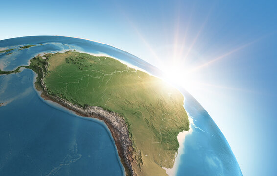 Sun shining over a high detailed view of Planet Earth, focused on South America, Amazon rainforest and Brazil. 3D illustration - Elements of this image furnished by NASA