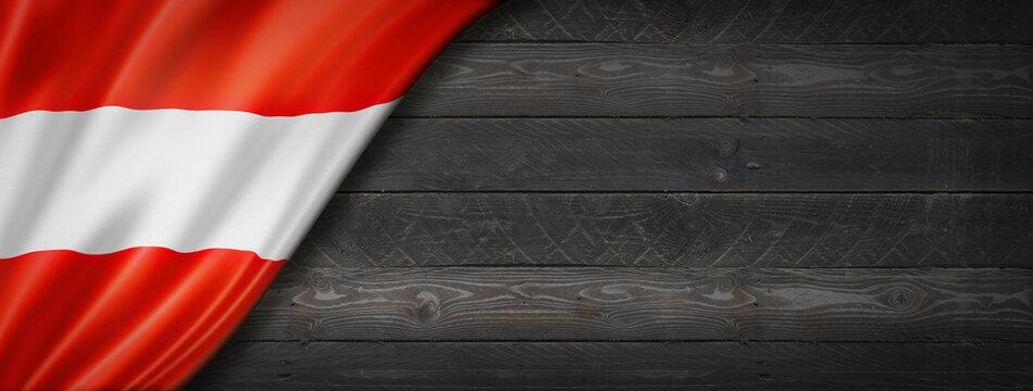 Austrian flag on black wood wall banner