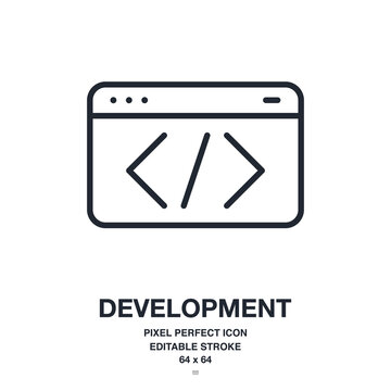 Programming and software development concept editable stroke outline icon isolated on white background vector illustration. Pixel perfect. 64 x 64.