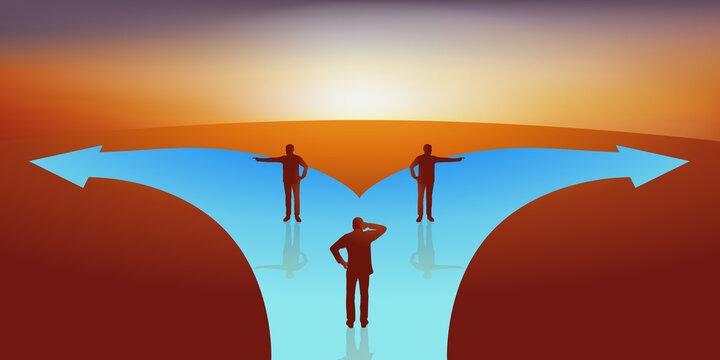 Concept du choix, avec un homme qui doit décider du chemin qu'il doit prendre, face à deux personnes qui lui montrent des directions opposées.