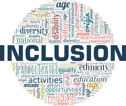 Inclusion vector illustration word cloud isolated on a white background.