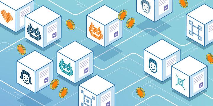 NFT cryptoart items marketplace and tokens