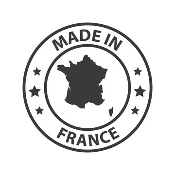 Made in France icon. Stamp made in with country map