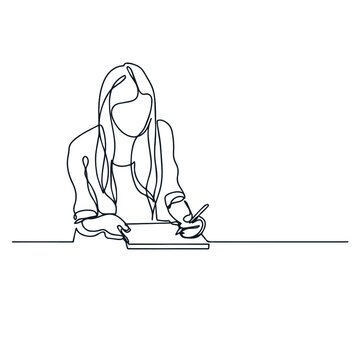 Continuous line drawing of student girl writing.