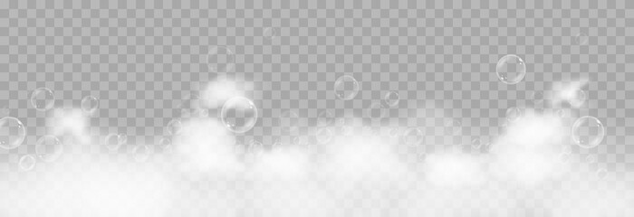 Obraz Vector foam with bubbles. Soap bubbles png, foam png, soap, shampoo. Bath foam on isolated transparent background. - fototapety do salonu