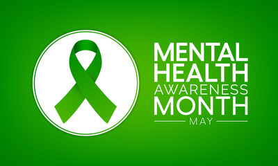 Obraz Mental health awareness month observed each year during May. it includes our emotional, psychological, and social well-being. It affects how we think, feel, and act. Vector illustration. - fototapety do salonu