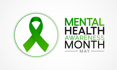 Mental health awareness month observed each year during May. it includes our emotional, psychological, and social well-being. It affects how we think, feel, and act. Vector illustration. - fototapety na wymiar
