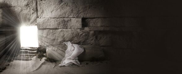 Wall Murals Graffiti Empty tomb while light shines from the outside. Jesus Christ Resurrection. Christian Easter concept.