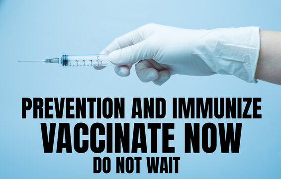 """Covid vaccination advertising with word """"prevention and immunize, vaccinate now, do not wait."""" Flyer, booklet, leaflet print, cover design and advertising posters"""