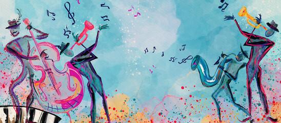 Fototapeta World of music. Watercolor. Concept background.. obraz