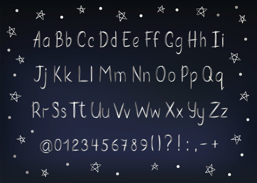 Silver alphabet in sketchy style. Vector handwritten pencil letters, numbers and punctuation marks. Metallic pen handwriting font.