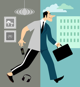 Man returning to work in the office after Covid-19 lockdown and working remotely from home, EPS 8 vector illustration