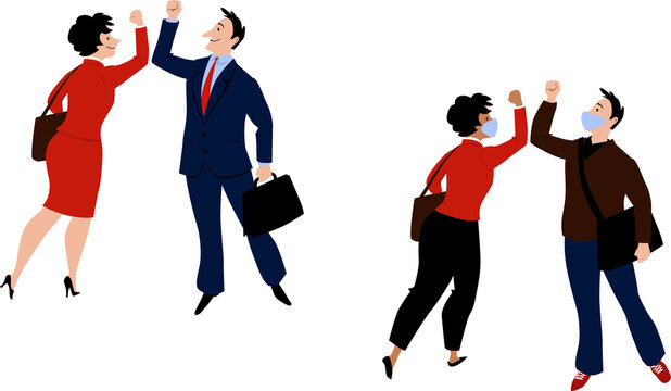 Business people, some of them wearing masks, greeting each other with elbow bump, avoiding handshake after Coronavirus pandemic, EPS 8 vector illustration