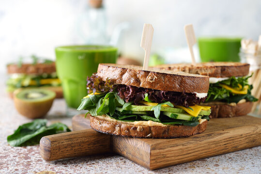 Green veggie sandwich with vegetables and herbs