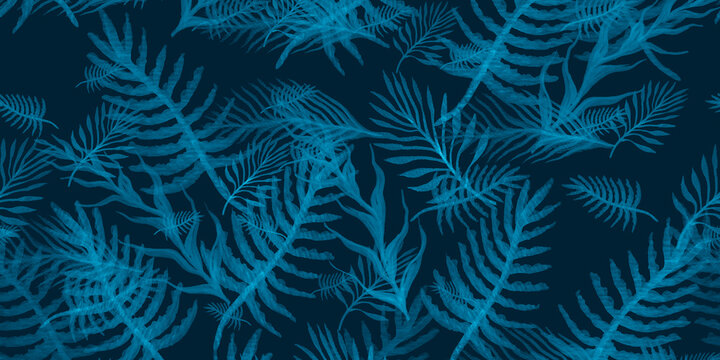 Watercolor Tropical Pattern. Sky Palm Leaf Outline. Indigo Water Color Tropical. Palm Pattern Tropical. Aqua Pattern Banana Leaves. Africa Tropical.