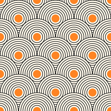 Seamless pattern with geometric shapes. Mid century art print. Vector illustration.