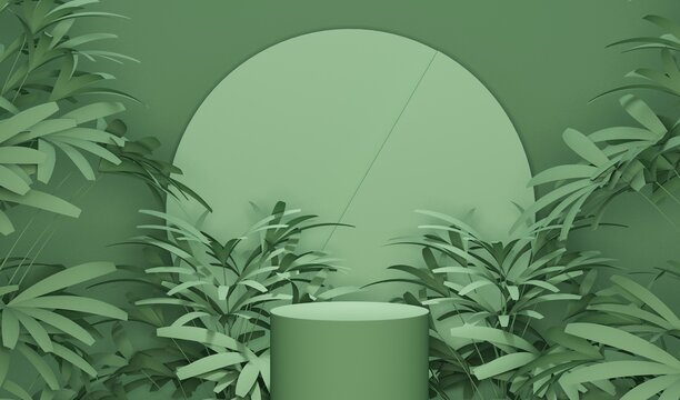 Minimal scene with podium, tropical palms, leaves and abstract background. Pastel blue and green colors scene. Trendy 3d render for social media banners, promotion, product