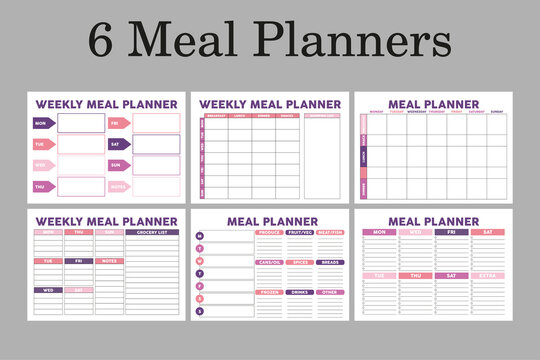 Meal planners A4 size, set of 6 planner pages, great for bullet journal.Healthy, diet planners.
