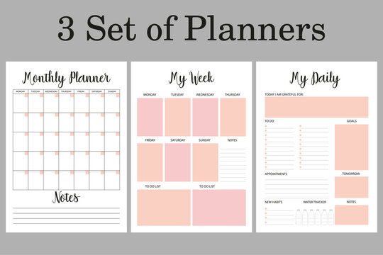 Daily, weekly,  monthly planners set, 3 planner pages A4 sizes. Pages for bullet journal, notebook.