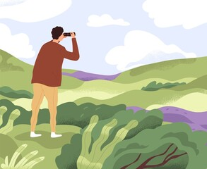 Fototapeta Man with binoculars looking forward in future. Concept of discovering new horizons, finding solutions, searching and exploring opportunities. Colored flat vector illustration of explorer in nature
