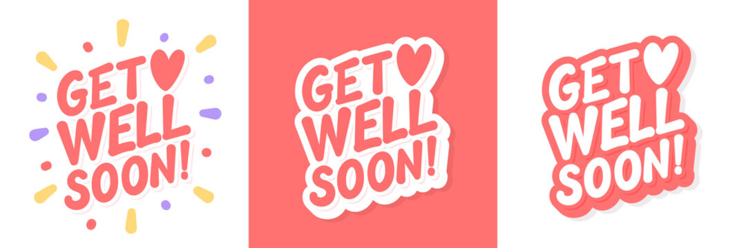 Get well soon. Vector lettering cards set.