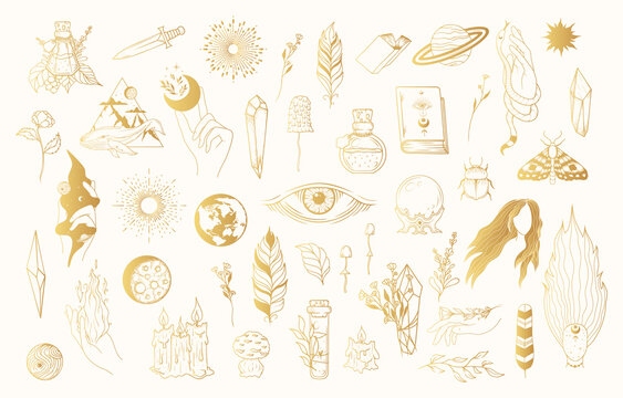 Big golden Witchcraft set with gold celestial hands, witch elements, evil eye, feathers, candles, mushrooms, crystals. Vector isolated mystical illustration.
