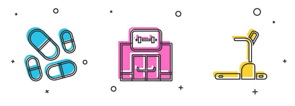 Set Vitamin pill, Gym building and Treadmill machine icon. Vector