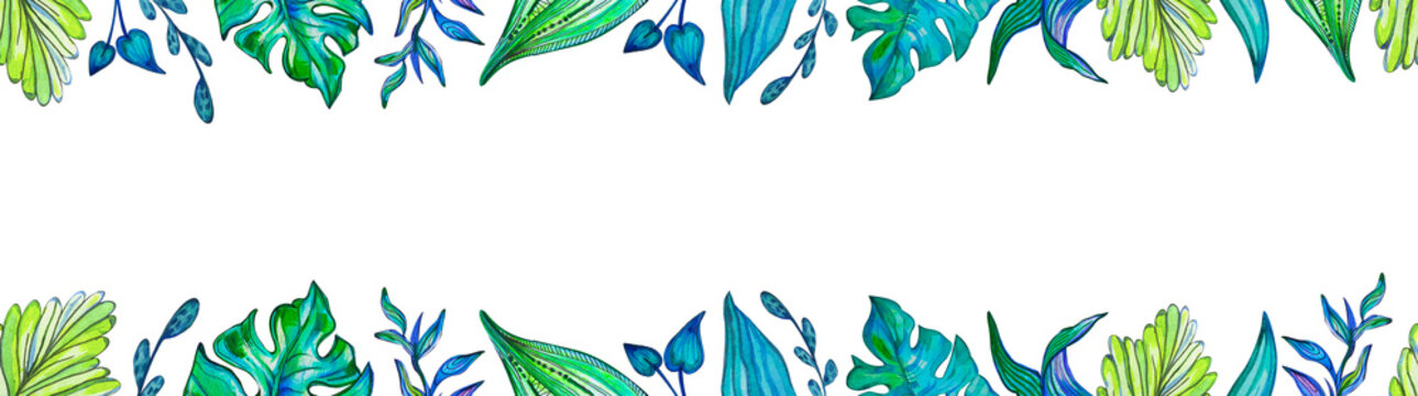 Seamless border summer and spring plants with decorative leaves draw acrylic colors. Monstera stylized leaf. Space for your text. Leaf frame, mockup.