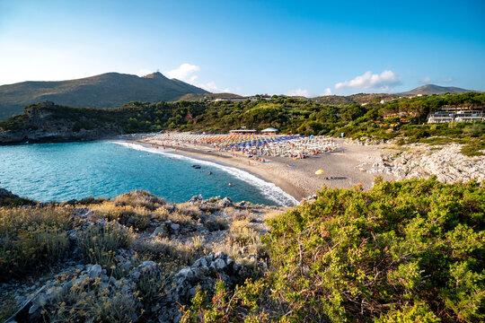Capogrosso beach on the Tyrrhenian Sea near Marina di Camerota. Salerno, Campania, Italy