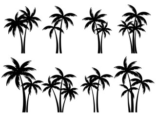 Black palm trees set isolated on white background. Palm silhouettes. Design of palm trees for posters, banners and promotional items. Vector illustration Wall mural