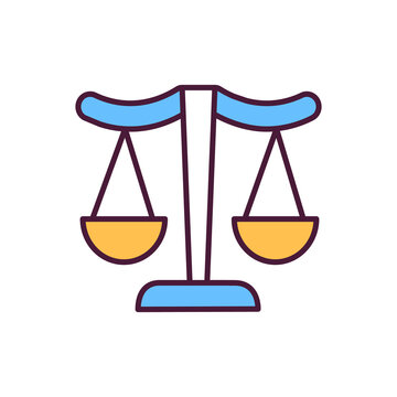 Justice RGB color icon. Logotype of all courthouses. Protecting rights of citizens using rules and laws. Weighting crimes of criminals. Isolated vector illustration