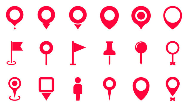 Pin Location icons. Point of location. Set of map pointer. Marker pointer. Vector illustration. Flat Map pin icons to mark location