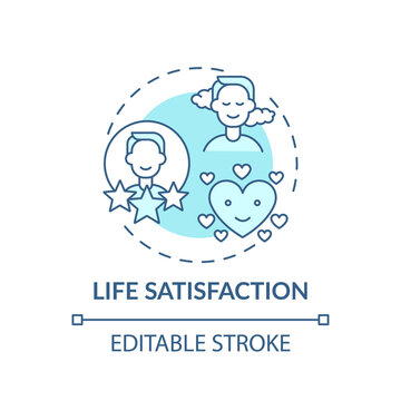 Life satisfaction turquoise concept icon. Improving yourself. Wellness and mind harmony. Self development idea thin line illustration. Vector isolated outline RGB color drawing. Editable stroke